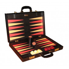 Backgammon Board Elegant XL Genuine Leather in Black