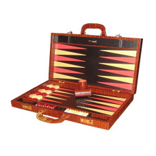 Backgammon Board Elegant XL Genuine Leather in Brown