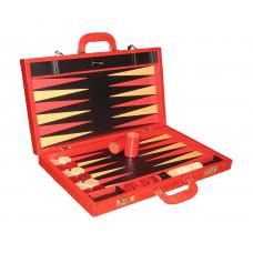 Backgammonspel Elegant XL Äkta läder i rött