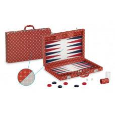 Backgammon-set Trendy XL Dal Negro i rött tyg