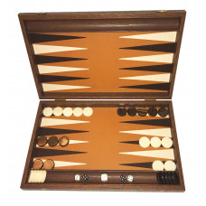 Backgammon board in Wood & Tan Leather Grambousa L