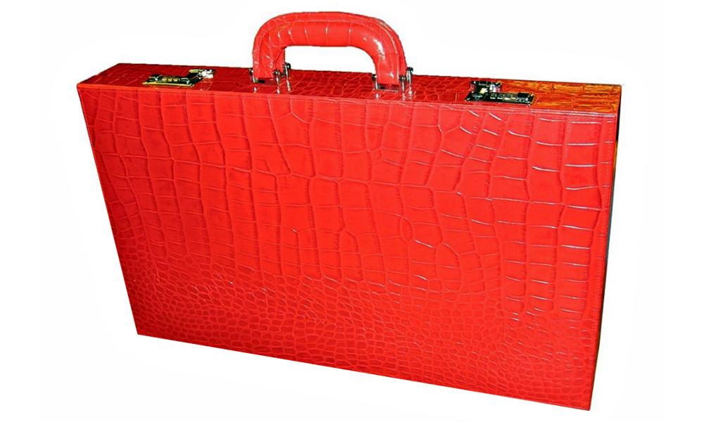 Backgammon Board Elegant XL Genuine Leather in Red