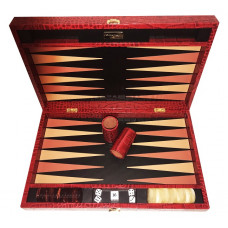 Backgammon Board Deluxe L Genuine Leather in Red