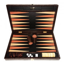Backgammon Board Deluxe L Genuine Leather in Brown