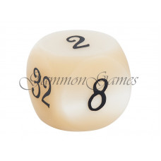 Backgammon Doubling Cube Pearl in Ivory 30 mm