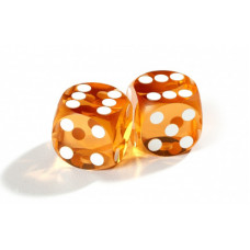 Official Precision Dice for Backgammon 14 mm Amber