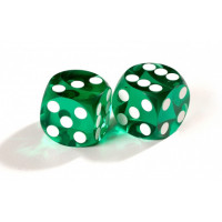 Official Precision Dice for Backgammon 14 mm Green