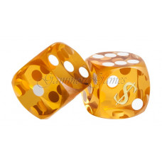 Las Vegas Backgammon precision dice in Amber 14 mm