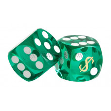 Las Vegas Backgammon precision dice in Green 14 mm