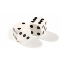 Official backgammon precision dice 13 mm White