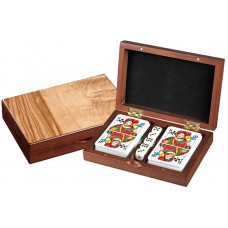 Set of 5 Dice Playing Cards in wooden box