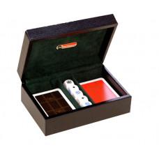 Exklusiv låda av kalvskinn med Kortlekar & Poker-tärningar