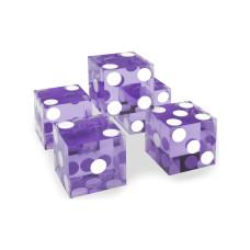 Kasino precisionstärningar 19 mm Serie-numrerade 5-pack i violett