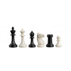 Schackpjäser Nerva i plast, i svart och vitt KH 76 mm